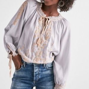 Lucky Brand  Embroidered Boho Blouse  Size L